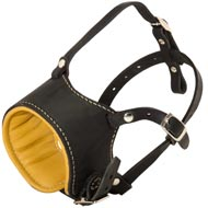 Anti-Barking Leather Bull Terrier Muzzle with Nappa Padding