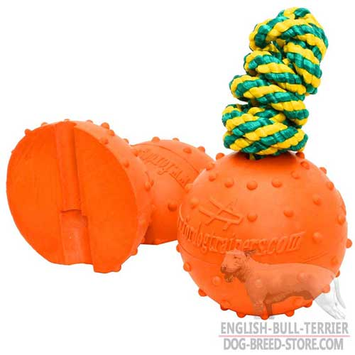Rubber Bull Terrier Ball with Strong String