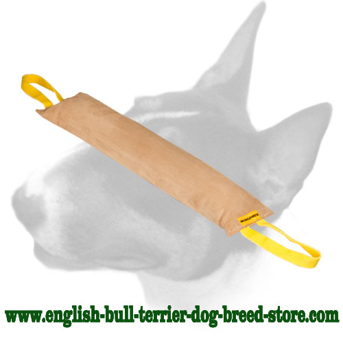 English Bull Terrier genuine leather bite tug with 2 durable handles for training