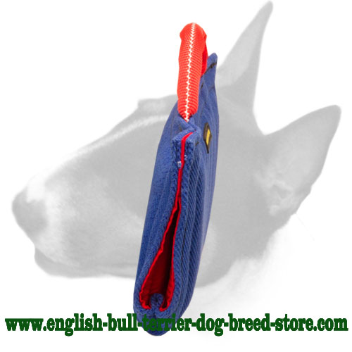 French linen puppy sleeve for English Bull Terrier