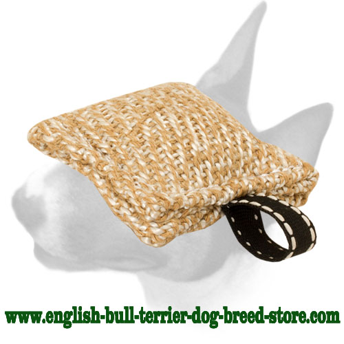 English Bull Terrier natural Jute pocket bite tug for training puppies