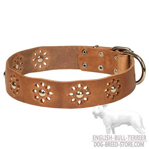 'Flower Blues' English Bull Terrier Leather Dog Collar
