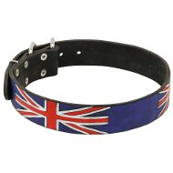 English Bull Terrier Leather Dog Collar Special Edition with UK Flag