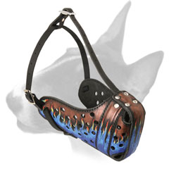 Fashionable Walking Leather Bull Terrier Muzzle with Blue Flames