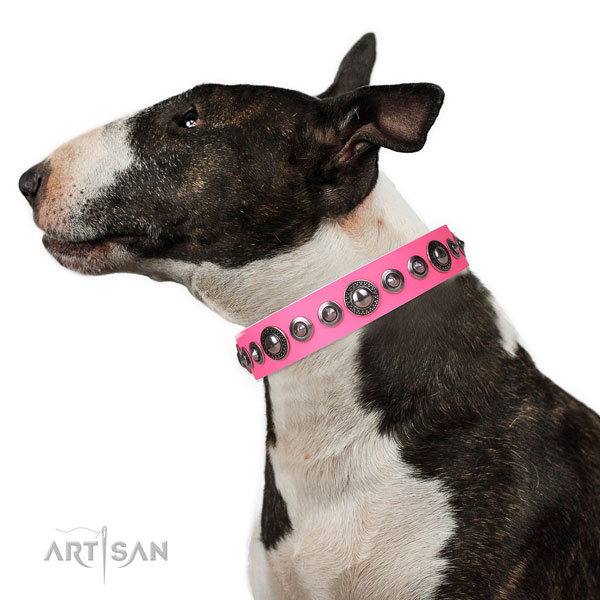 Incredible studded genuine leather dog collar for easy wearing