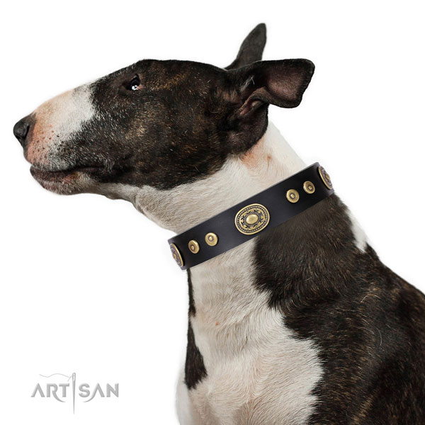 Awesome embellished genuine leather dog collar for comfortable wearing