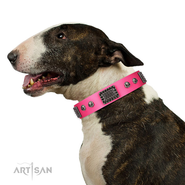 Adjustable full grain genuine leather collar for your impressive dog
