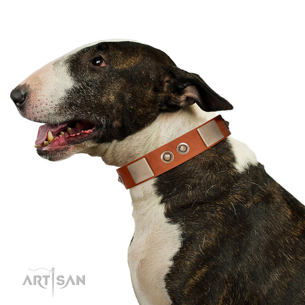 Corrosion resistant traditional buckle on natural genuine leather dog collar for handy use