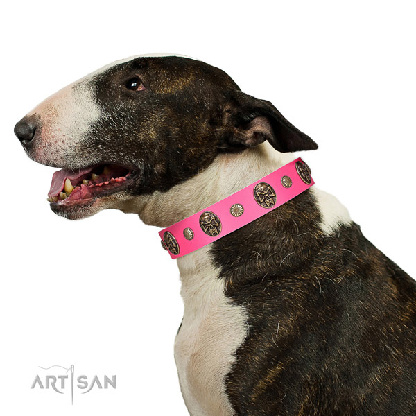 Rust resistant D-ring on natural genuine leather dog collar for comfortable wearing