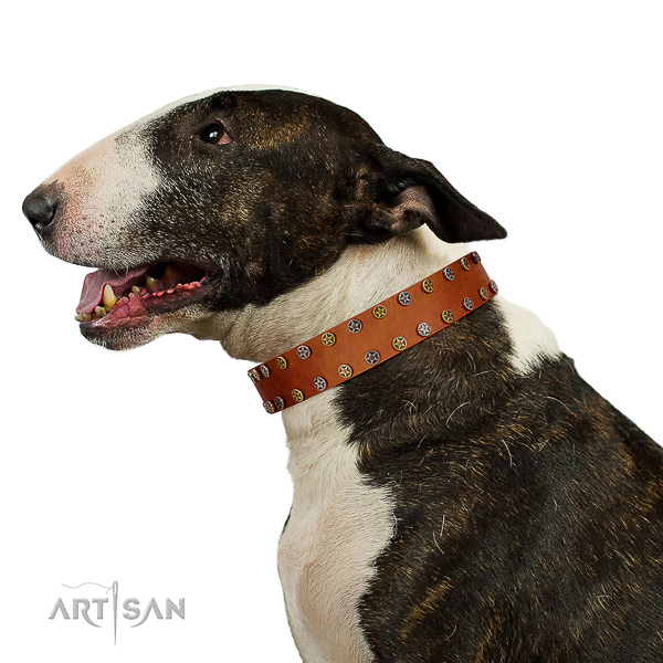 Handy use soft leather dog collar with embellishments