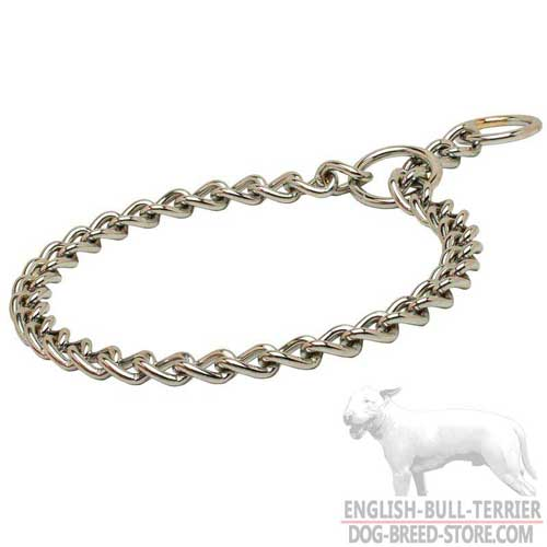 Smooth Chrome Plated Bull Terrier Choke Collar for Behavior Correction