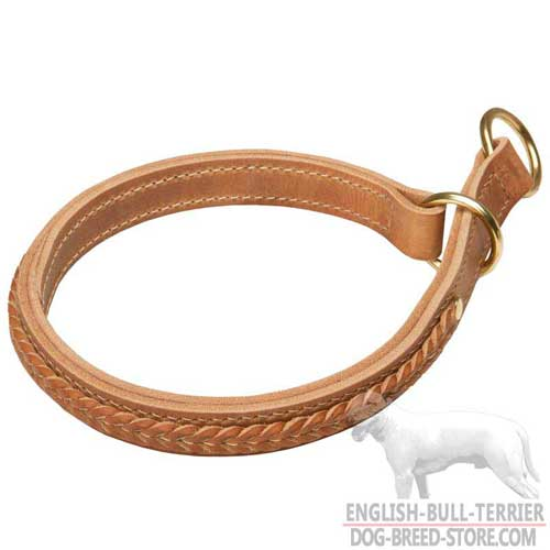 Handmade Leather Bull Terrier Choke Collar Braided
