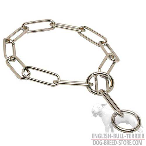 Chrome Plated Bull Terrier Fur Saver with Smooth Large Links