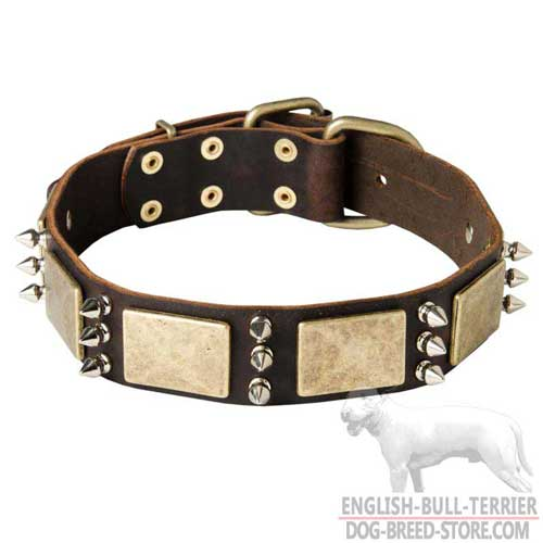 War Design Strong Leather Dog Collar With Plates And Spikes