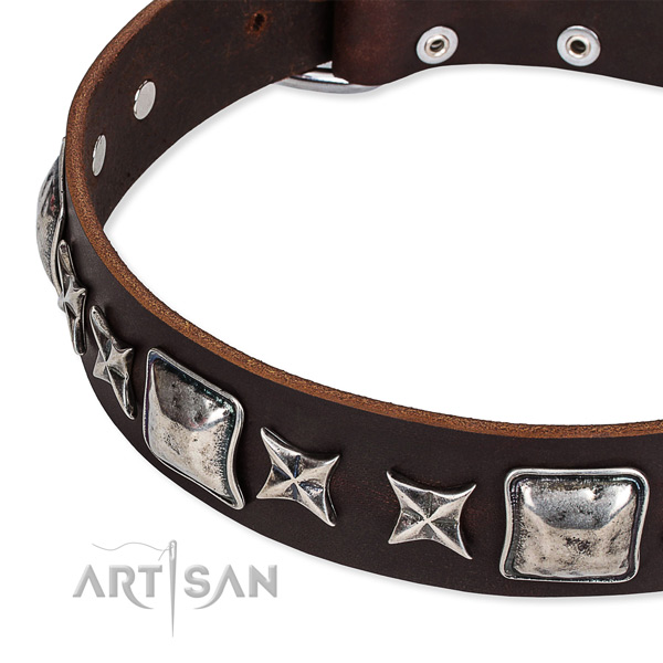 Natural genuine leather dog collar with decorations for handy use