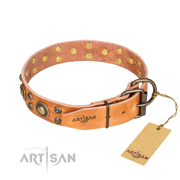 Handy use natural genuine leather collar with embellishments for your pet