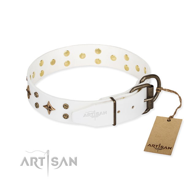 Handy use full grain genuine leather collar with adornments for your canine