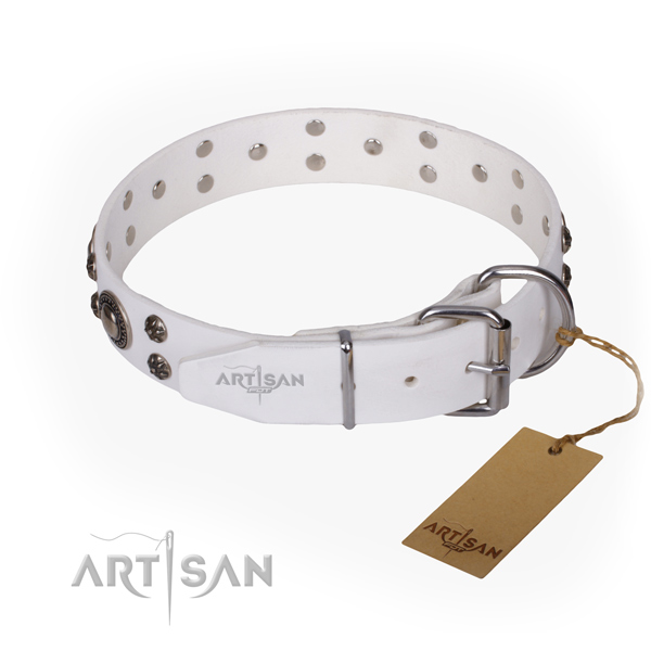 Handy use full grain leather collar with decorations for your four-legged friend
