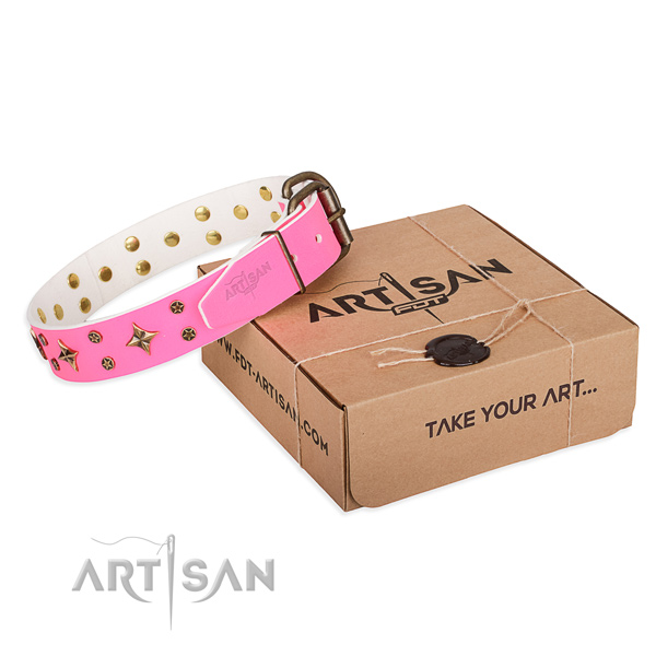 Embellished leather dog collar for daily use
