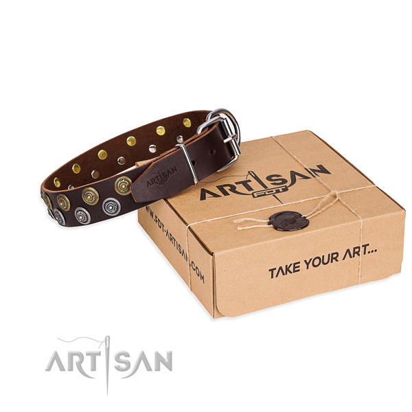 Leather dog collar with decorations for daily walking