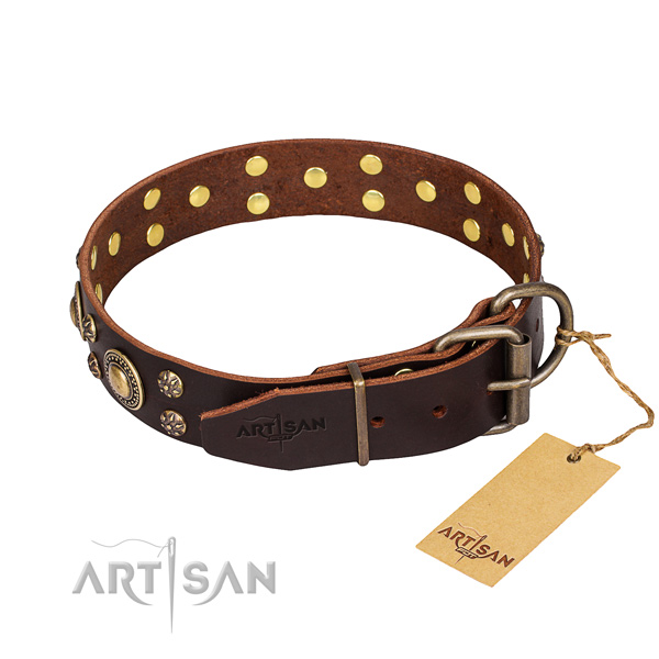Daily use genuine leather collar with decorations for your dog