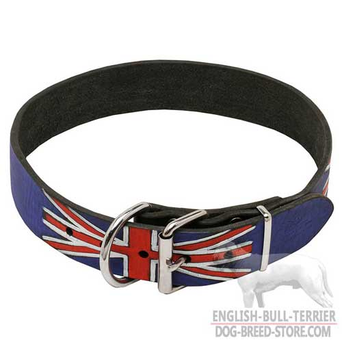 English Bull Terrier Stylish Leather Collar, Painted