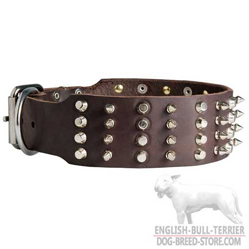 Dog leather collar with hand-riveted spikes and studs