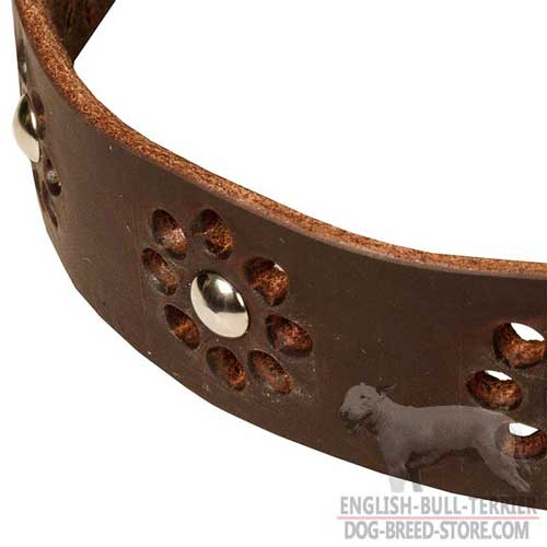 English Bull Terrier Leather Collar With Unique Flower Design
