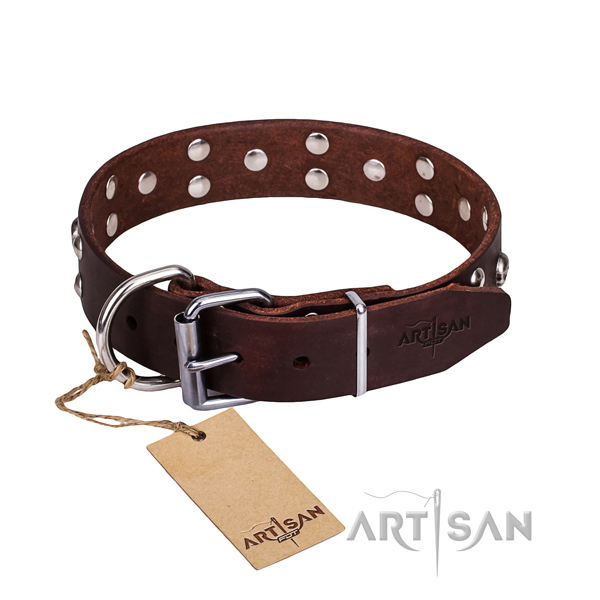 Leather dog collar with smoothed edges for comfy everyday outing