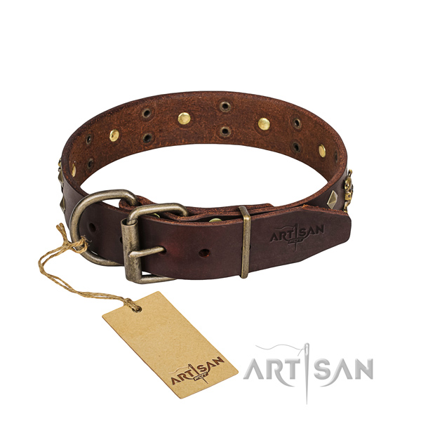 Sturdy leather dog collar with strong elements