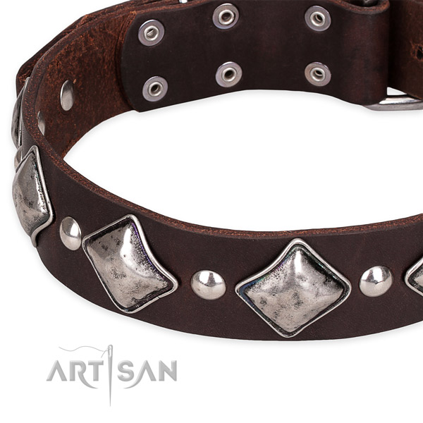 Easy to use leather dog collar with extra sturdy non-rusting hardware