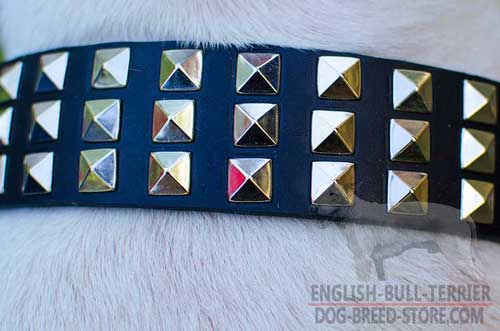 Heavy-Duty Nickel Plated Pyramids On Adjustable Leather Dog Collar