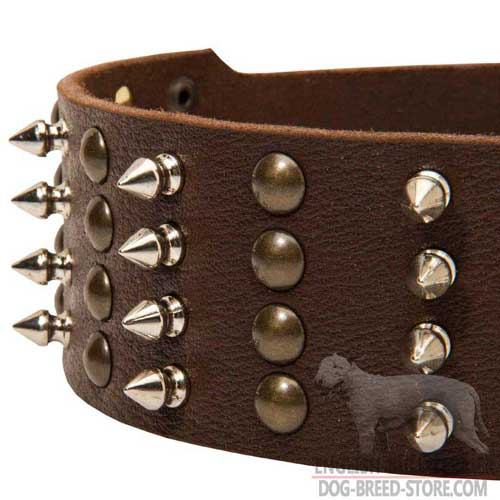 Nickel Spikes and Brass Pyramids on  Leather Dog Collar