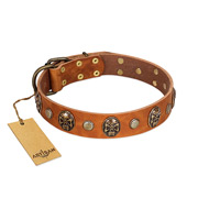 """Call of Feat"" FDT Artisan Tan Leather English Bull Terrier Collar with Old Bronze-like Studs and Oval Brooches"