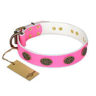 """Forever Fashion"" FDT Artisan Leather English Bull Terrier Collar with Old Look Plates - 1 1/2 inch (40 mm) wide"