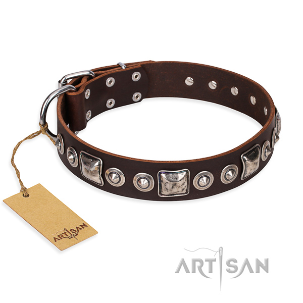 Leather dog collar made of flexible material with reliable fittings
