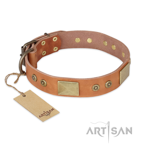 Fine quality full grain natural leather dog collar for comfortable wearing