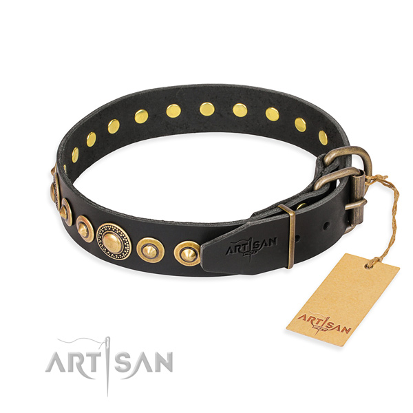 Durable full grain genuine leather collar handmade for your dog