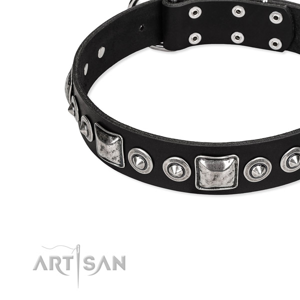 Natural genuine leather dog collar made of gentle to touch material with adornments