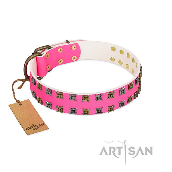 Genuine leather collar with stunning adornments for your pet