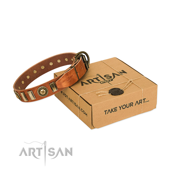 Strong full grain natural leather dog collar with rust-proof fittings