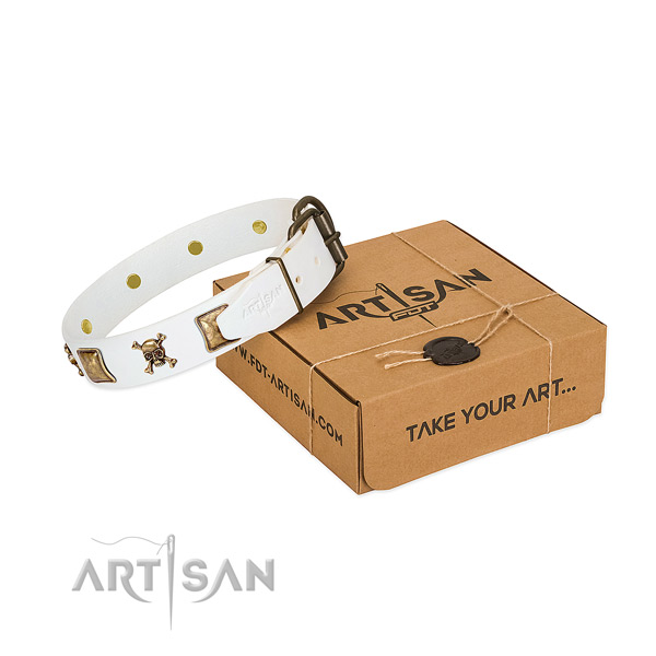 Inimitable full grain natural leather dog collar with corrosion proof decorations