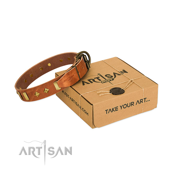 Easy wearing best quality genuine leather dog collar with adornments