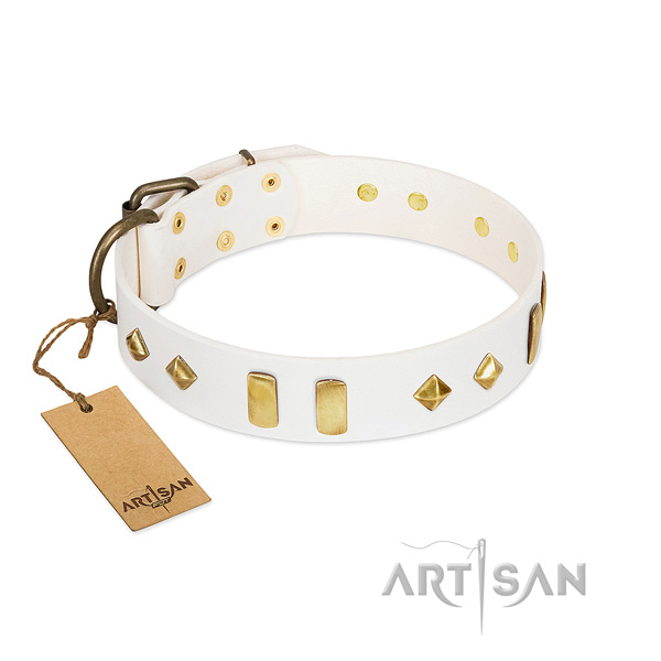 Handy use best quality full grain leather dog collar with adornments