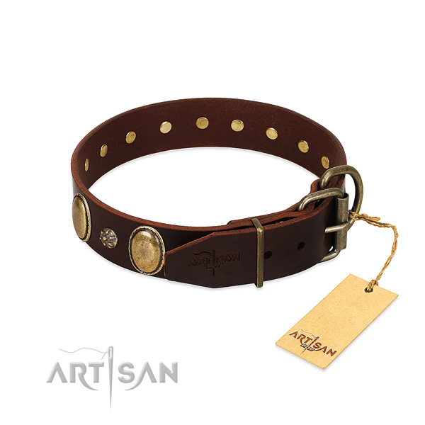 Handy use soft leather dog collar