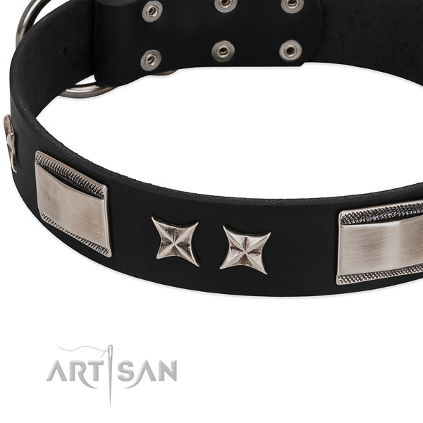 Soft to touch full grain genuine leather dog collar with reliable hardware
