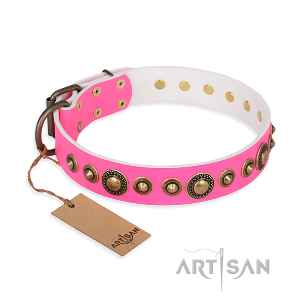Gentle to touch full grain genuine leather collar crafted for your four-legged friend
