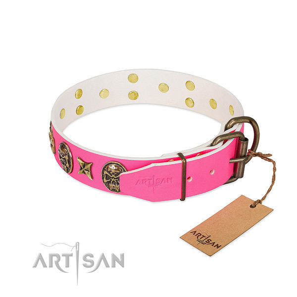 Rust-proof buckle on full grain genuine leather collar for walking your canine