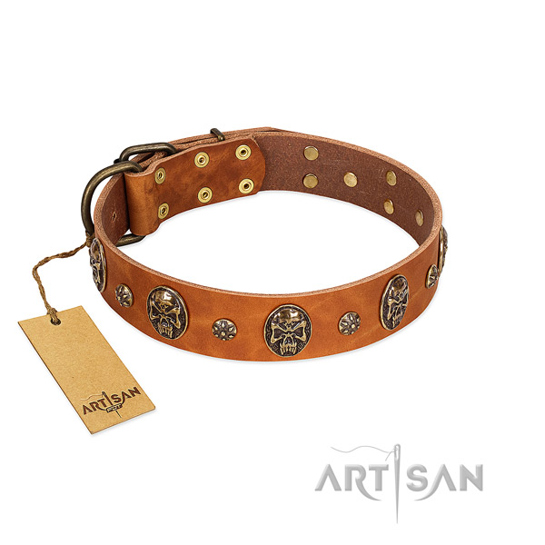 Amazing full grain natural leather collar for your pet
