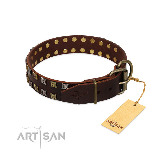 Soft to touch natural leather dog collar crafted for your canine